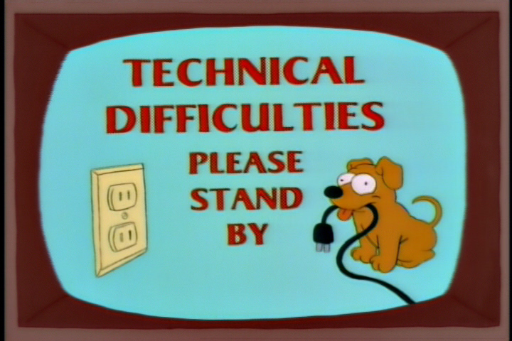 The Simpsons and The Critic Technical Difficulty Slides